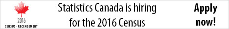 Image of a stylized maple leaf with the year 2016. Additional text reads: Census-Recensement. Statistics Canada is hiring for the 2016 Census. Apply now!